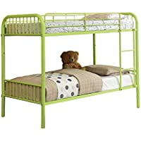Furniture of America Newton Twin-Twin Metal Bunk Bed, Apple Green