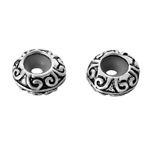 HooAMI 10pcs Antique Silver Flower Stopper Beads Fit Charm (Best Hooami Charm Bracelets)