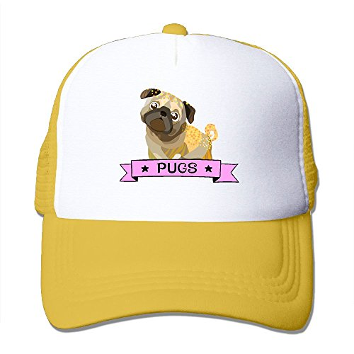 Yellow Foam Construction Hat (Uykkioo Pugs Dog Women's Fitted Mesh Baseball Hat)