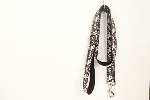hipidog Personalized Dog Collar Leash- Matching Collar Available Separately (Black Purple Flower)