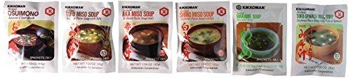 Kikkoman Instant Soup 6 Variety Pack - Miso-tofu , Tofu- Spinach Soup, Shiro Miso , Aka Miso , Osuimino Japanese Clear, Wakame