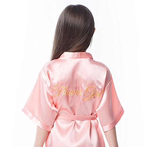 Satin Robe for Flower Girl with Gold Embroidery on The Back (Blush Pink - Flower Girl in Gold, Girl, 7-12y) ()