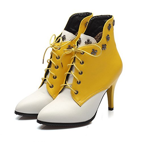 Material Women's Heels Yellow AmoonyFashion Soft Lace High Color Assorted top Boots up Low UBdIIqx