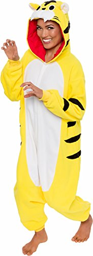 Silver Lilly Adult Pajamas - Plush One Piece Cosplay Tiger Animal Costume (L) - Tiger Onesie Costume For Adults