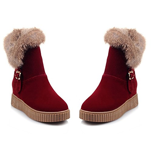 Buckle Pull Snow Warm On Women Boots Red Flatform COOLCEPT w4SqBS