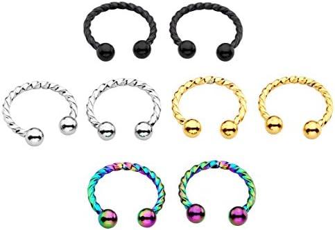 PiercingJ 2X 1.2mm Edelstahl Twist-Stab Ohrring Lippen Nase Brust Helix Tragus Ohr Piercing Septum Ring Hufeisen Circular Barbell Ohrpiercing, Silber/Gold/Schwarz/Bunt