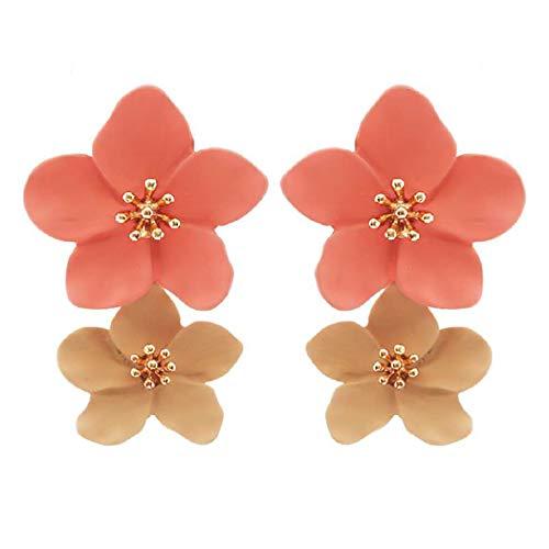 - Rosemarie Collections Women's Double Metal Flower Dangle Drop Post Earrings (Peach/Tan)