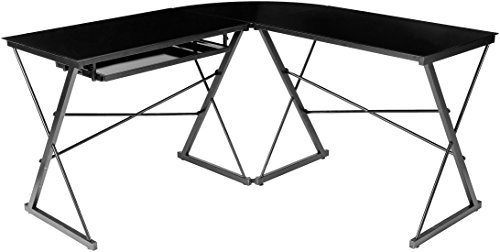 Amazonbasics Three Piece Glass Desk, Black With Black Glass