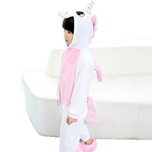 Sensfun Kids Animal Onesie Flannel One Piece Pegasus Pajamas Toilet Version Costume Cosplay for Boys/Girls(Pink Unicorn 10-12Years) ()