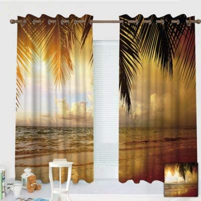 ZXAWT Custom Design Curtains Grommet Top Blackout Curtains Thermal Insulated Curtain for Bedroom and Kitchen-Set of 2 Panels Coconut Tree Scenery by The Sea 120 W107 L