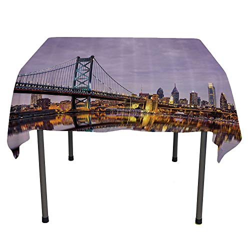 Apartment Decor Collection, Wrinkle Free Anti-Fading Tablecloths Ben Franklin Bridge and Philadelphia Skyline Under Sunsets Reflections on Water Image, for Kitchen Dining Party, 50x50 Inch Gray Ivory