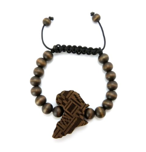 Africa Map Shape Piece 8mm Wood Beads Adjustable Bracelet in Many Colors Available (Brown) by Fashion 21