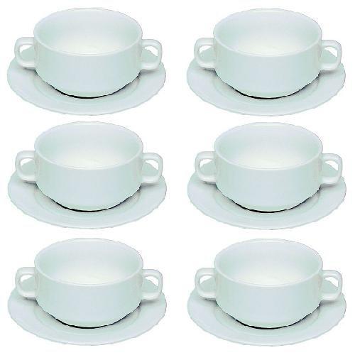 Viva-Haushaltswaren - 6 einfache, weiße Porzellan- Suppentassen mit Untertassen 0,26L / stapelbar