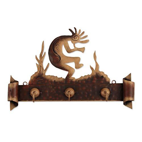 NOVICA Southwest Theme Iron Wall Mounted Coat Hanger, Kokopelli Serenade'