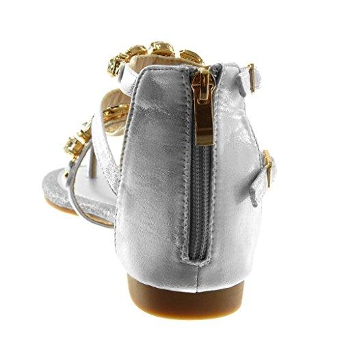 Cinturino Blocco Donna Scarpe Infradito Angkorly Moda Lucide Sandali Argento Gioielli a 1 Tacco 5 Paillette cm IqFaP
