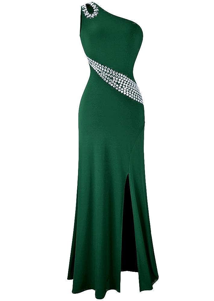 Dark Green MorySong Women's One Shoulder Beading Prom Dress Sexy Side Split Evening Dress