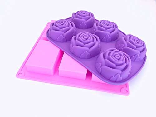 LiveForward 2 Pack DIY Silcone Soap Molds - includes 1 rectangle mold and 1 flower mold, Handmade, Baking Mold, Cake, Cupcakes, Mini Loaf, Muffin, Rose Mold, Bar Soap, Baby Soap - Beach Turkey Sugar