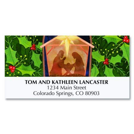 Nativity and Holly Personalized Holiday Return Address Labels- Set of 48, Large Self-Adhesive, Flat-Sheet Labels