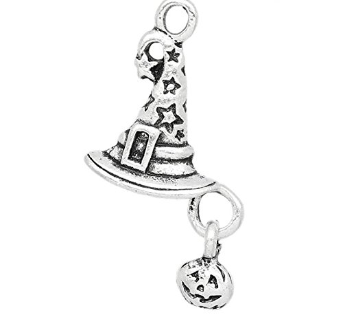 10 x Tibetan Silver WITCHES WIZARD HAT & PUMPKIN HALLOWEEN 19mm Charms Pendants Beads Pink Cat Charms