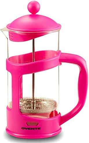 Ovente French Press Coffee and Tea Maker, 34 oz, 5 cup, Pink (FPT34F)