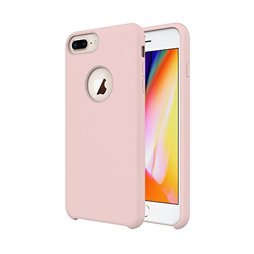 iPhone 8 Plus Case/iPhone 7 Plus Case/iPhone 6 Plus Case, Soft Touch, Comfortable Grip, Slim Fit, Tiamat Liquid Silicone Case with Microfiber Cloth Lining Cushion - Rose Gold