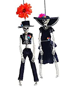Hector and Harriet Hanging Skeleton Couple with Swinging Arms and Legs - 16 inch