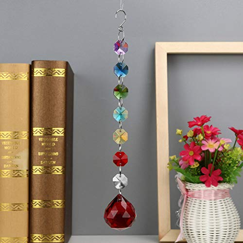 Hot Sale!DEESEE(TM)12Colors 1PC DIY Bohemian Clear Crystal Ball Prisms Pendant Hanging Wedding Decor Gift (K) -