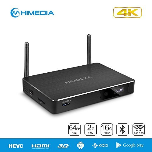 HiMedia H8 Plus 64-bit Octa-Core Android 5.1 Lollipop TV Box 2GB RAM 16GB ROM RK3368 Chipset 4K 3D Network Media Player BD-ISO and H.265 Support 1000M Lan Dual Band Wifi Bluetooth 4.0 by HiMedia