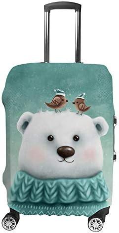 スーツケースカバー トラベルケース 荷物カバー 弾性素材 傷を防ぐ ほこりや汚れを防ぐ 個性 出張 男性と女性かわいいクマの肖像画