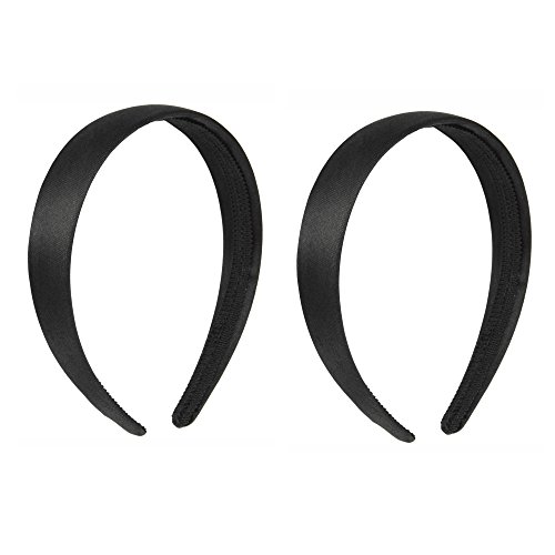 Alice Headband - Luxxii 1 Inch Black Satin Covered Alice Hairband for Kids Girls Teens Headbands (Pack 2 (Black 1