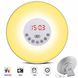 Popwinds Wake Up Light Sunrise Simulation Snooze Alarm Clock Bedside Night with FM Radio, Nature Sounds, Touch Control and USB Charger, for Heavy Sleepers (6 Colors)