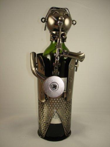 Saxophone Player Metal Wine Bottle Holder