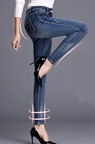 Stretchy Azul Cintura Jegging Lápiz Simgahuva Juniors Womens De Skinny Alta Jeans qvqwOEBA