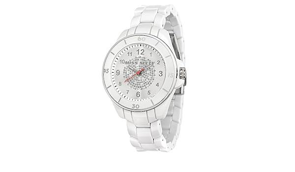 Miss Sixty R0751111502 - Reloj analógico de cuarzo para mujer con correa de plástico, color blanco: Amazon.es: Relojes