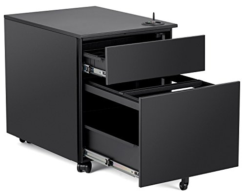 Halter 2DPC-P 2 Drawer Pedestal File Cabinet with Key Lock / Passcode Security and Wheels - Cold Rolled Steel - 18.9'' H X 15.3'' W X 20.5'' D - Black by Halter
