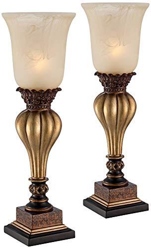 Sattley Alabaster Glass Gold Console Lamp Set of 2 - Regency ()