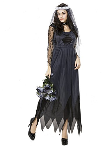 Girls Zombie Bride Halloween Costume (Colorful House Womens Ghost Bride Fancy Dress Black Zombie Halloween Costume with Veil)