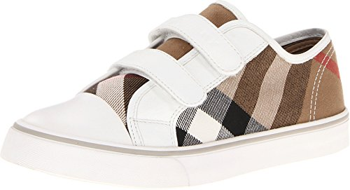 Price comparison product image Burberry Kids Unisex Canvas Check Trainers (Toddler/Little Kid) White 31 (US 13 Little Kid) M