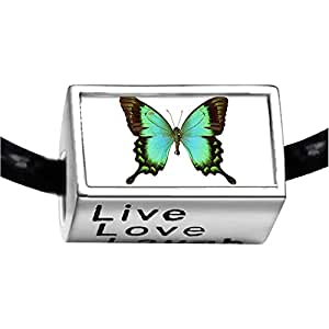 Chicforest Silver Plated Beautiful Lovely Butterfly Photo Live Love Laugh Charm Beads Fits Pandora Bracelets