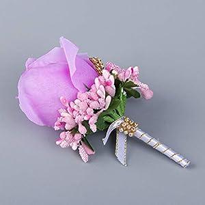 TeemorShop 1Pc Wedding Artificial Rose Flower Brooch Bouquet Corsage with Glitter Rhinestone Ribbon Boutonniere 11