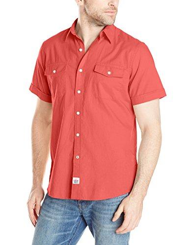 IZOD Men's Short Sleeve Coastal Prep Seaside Solid Button Up, Tea Rose, Medium
