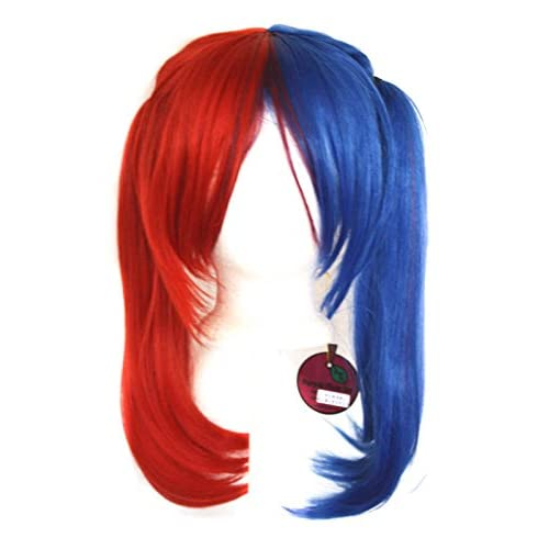 Nanako - Royal Blue and Scarlet Red Split Wig 18'' Pigtails with Part and Long Bangs