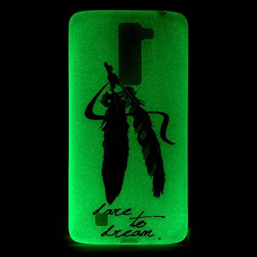 [Extremadamente Delgada] Funda 3D Silicona Transparent para LG K7 , Funda TPU Ultra Slim para LG K7 , TOCASO Case Fina Slim Fit Cristal Clear, Noctilucent Cover Glittering Bling Cute Pattern Colored P Dos Plumas