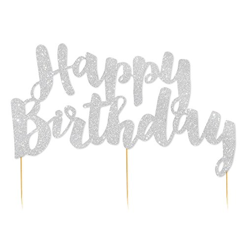 Illume Partyware Silver Glitter Happy Birthday Cake Topper,, Height 6.5 Inches x Width 5 Inches for Birthday Parties for All Ages