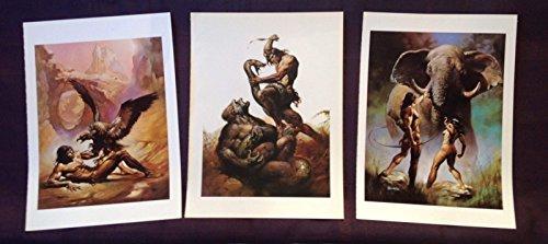 Vintage Lithograph Original - 1978 Vintage BORIS VALLEJO Lot of 3 Original TARZAN Art Print Lithographs
