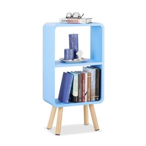 Relaxdays Standregal mit 2 Fächern, schmales MDF Bücherregal ohne Schubladen, Wohnzimmer Regal mit Holzbeinen, blau
