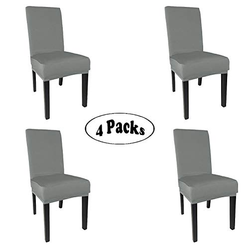 She Yang Spandex Fabric Stretch Removable Washable Dining Room Chair Cover Protector Seat Slipcovers Set of 4 (Grey, 4)