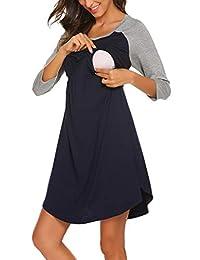 EkouaerWomens Delivery/Labor/Maternity/Nursing Nightgown Pregnancy Gown for Hospital Breastfeeding Dress