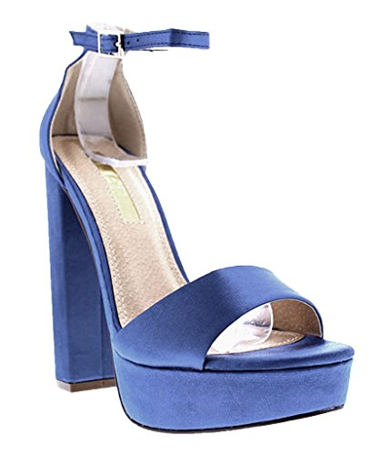 Liliana Platform Basic Heel Open Toe Satin Ankle Strap Chunky Block Heel Yuko-17 (Blue - Platform Blue Satin
