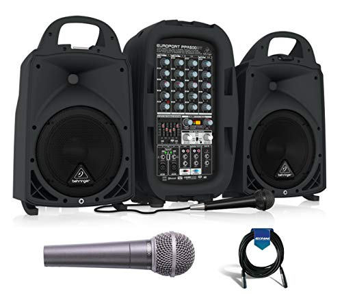 Behringer Europort PPA500BT, Ultra-Compact 500-Watt 6-Channel Portable PA System with Bluetooth Technology, Wireless Microphone Option with Behringer ULTRAVOICE XM8500 Mic + 20' 6mm Mic Cable Behringer Ultra Compact Microphone